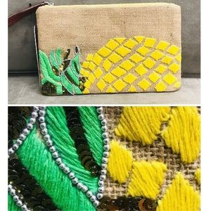 SR Beaded & Embroidered Zipper Clutch, NWT